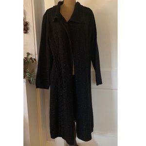 Heathered Black Full Length Sweater Cardigan